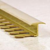 Z образный латунный профиль для стыковки плитки и ламината 270 см.