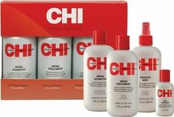 Косметический набор для волос CHI Шампунь Infra, 355 мл + Кондиционер Infra, 350 мл + Кондиционер Кератин Мист, 355 мл + Гель восстанавливающий, 59 мл
