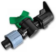Старт-коннектор с краном для плоского шланга и капельной ленты