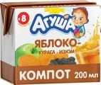 Напиток сокосодержащий Агуша Курага Изюм Яблоко, с 8 месяцев, 200 мл
