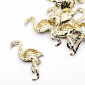 Фламинго с двусторонними пайетками 40х60мм, цвет золотой/белый