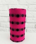 Фатин средней жесткости в шпульке. Цвет Розовый в крупный черный горох.