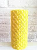 Фатин средней жесткости в шпульке. Цвет Желтый в мелкий белый горох.