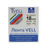 Лента Vell VL-SE4 (Brother TZE-SE4, 18 мм, черный на белом) для PT D450/D600/E300/2700/ P700/P750/E550/9700/P900/2430