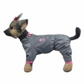"""Комбинезон для собак Dogmoda """"Тревел"""", для девочки, цвет: серый, розовый. Размер 1 (S)"""