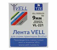 Лента Vell VL-221 (Brother TZE-221, 9 мм, черный на белом) для PT 1010/1280/D200/H105/E100/ D600/E300/2700/ P700/E550/97...