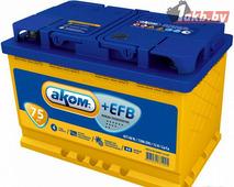 Гелевый аккумулятор АКОМ AKOM +EFB 6CT-75 Евро (75 A/h), 750А R+