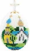 """Набор для бисероплетения Riolis """"Яйцо. Церквушка"""", цвет: белый, голубой, желтый, 6,5 х 5 см"""