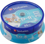 Диск CD-R Verbatim 700Mb 52x DataLife+ Cake Box Printable (25шт) (43439)