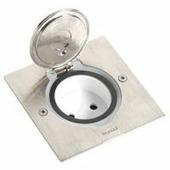 Встраиваемый влагозащитный розеточный лючок на 1 пост для установки в столешницу, фальш-пол. Цвет Нержавеющая сталь. Legrand (Легранд). 089700+080188