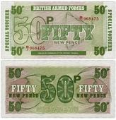 Банкнота Англия (Британские вооруженные силы) 50 новых пенсов 1972 K330316