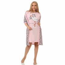 Комплект двойка Аист розовый (пеньюар, сорочка) №1041