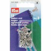 Крючки и петли латунь №3 большие 12 шт. серебристый Prym 263846