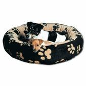 Лежак TRIXIE Sammy 70см, черный/бежевый в лапки, для животных