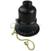AB7SRBEAY Ecola base Патрон с кольцом и выключателем на цепочке карболит E27 Черный