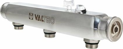 """Коллектор сантехнический Valtec из нержавеющей стали, с м-о расст вых. 100 мм, 1""""х 8 вых. 1/2"""" нар."""