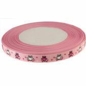 """Лента репсовая """"Совенок"""" 10мм, цвет розовый"""