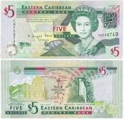 Банкнота Восточные Карибы 5 долларов 2008 (Pick 47a) K330132