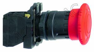 Кнопка аварийного останова с фиксацией 1НО+1НЗ поворотная 40мм (в сборе) Schneider Electric, XB5AS8445