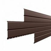 Сайдинг наружный металлический МеталлПрофиль Lбрус Коричневый шоколад 3м (Purman, 0,5мм, глянец.)