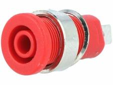 BS-324-LG-R, Гнездо банан 4мм красный никелирован