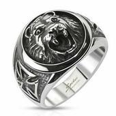 Перстень с головой льва и мальтийским крестом Spikes