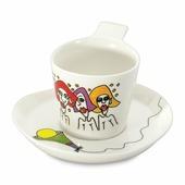 Чайные наборы Набор 2 шт чашек для кофе с блюдцем 0,18 л Eclipse ornament BergHOFF 3705006