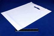 Пакет ПВД белый, с вырубной ручкой 40*50 80мкм, активированный, для шелкографии.5678/02