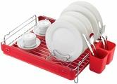 """Сушилка для посуды """"Lemax"""", настольная, цвет: хром, красный, 51,7 х 35,2 х 12,1 см"""
