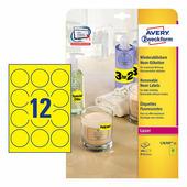 Неоновые круглые этикетки Avery Zweckform, желтые Ø 63.5 мм (12 шт. на листе A4, 25 листов) {L7670Y-25}