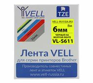Лента Vell VL-S611 (Brother TZE-S611, 6 мм, черный на желтом) для PT 1010/1280/D200/H105/E100/ D600/E300/2700/ P700/E550...