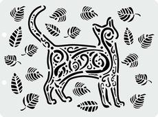 """Трафарет пластиковый Craft Premier """"Кот и листочки"""", 12,5 х 17 см"""