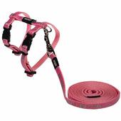 Шлейка и поводок для кошек ROGZ SparkleCat Pink 8 мм 20-30 см 1,8 м (RCLJ252K)
