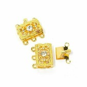 "Застежка для бус ""Tesoro"", коробчатая, цвет: золотистый, 11 х 17 мм, 2 шт"