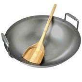 Сковорода вок из карбона в комплекте с лопаткой из бамбука (GRILL WOK