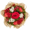 Букет из сухих и стабилизированных цветов Раффия красный