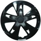 """Колпаки на колеса LION """"супер астра"""", R15, вид карбон, комплект 2 шт, черный"""