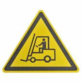 """Противоскользящий напольный знак """"Осторожно погрузчик"""", желто-черный, треугольник со сторонами 600 мм {MBMD001..."""