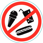 "Наклейка запрещающий знак Rexant ""С продуктами питания вход запрещен"" (150х150 мм) {56-0041}"