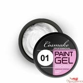 "Cosmake Гель-краска №001, ""Паутинка"", белая, 5 гр. Cosmake."