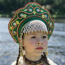 """Кокошник """"Венец"""" взрослый (зеленый с золотисто-красной окантовкой)"""