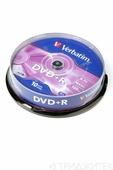 Записываемый компакт-диск Verbatim 43498 DVD+R 4.7Gb 16x CB/10, 1 штука