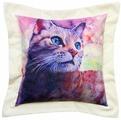 Подушка декоративная Кошка Акварель, фиолетовый