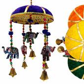 Музыка ветра Пять цветных слоников под зонтиком Джайпур / Шум ветра талисман