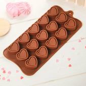 """Форма для льда и шоколада """"Сладкое сердце"""", 15 ячеек"""