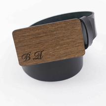 Ремень мужской кожаный для джинс гладкий, черный, с деревянной пряжкой из древесины Сукупира