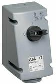232 MVS6 Розетка для монтажа на поверхность с выключателем и блокировкой 32A, 2P+E, IP44 АВВ, 2CMA167692R1000