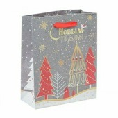 Набор пакетов крафт «Новогодние ёлки», 12 × 15 × 5,5 см - 3 шт