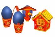 """Пасхальный набор для украшения яиц """"Деревенька"""", 2806415, 13 х 18 см"""