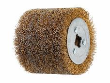 Щетка стальная с латунным покрытием 100х120 мм 0,5 мм WORTEX (диаметр 120 мм, ширина 100 мм, посадочный диаметр 19 мм, проволока 0,5 мм)